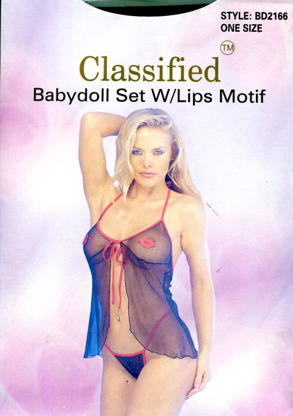 Babydoll Set With Lips Motif ~ One Size Babydoll & Chemises