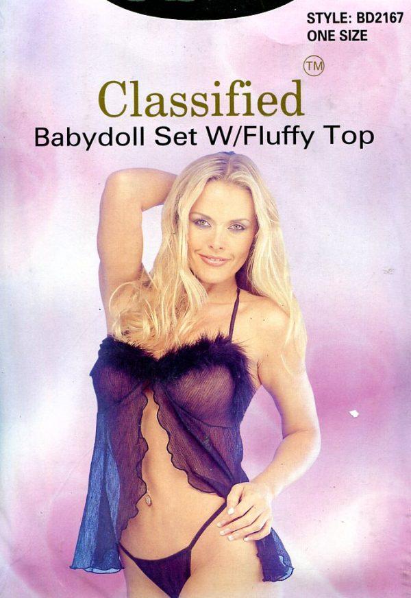 Fluffy Top Babydoll Set ~ One Size Babydoll & Chemises